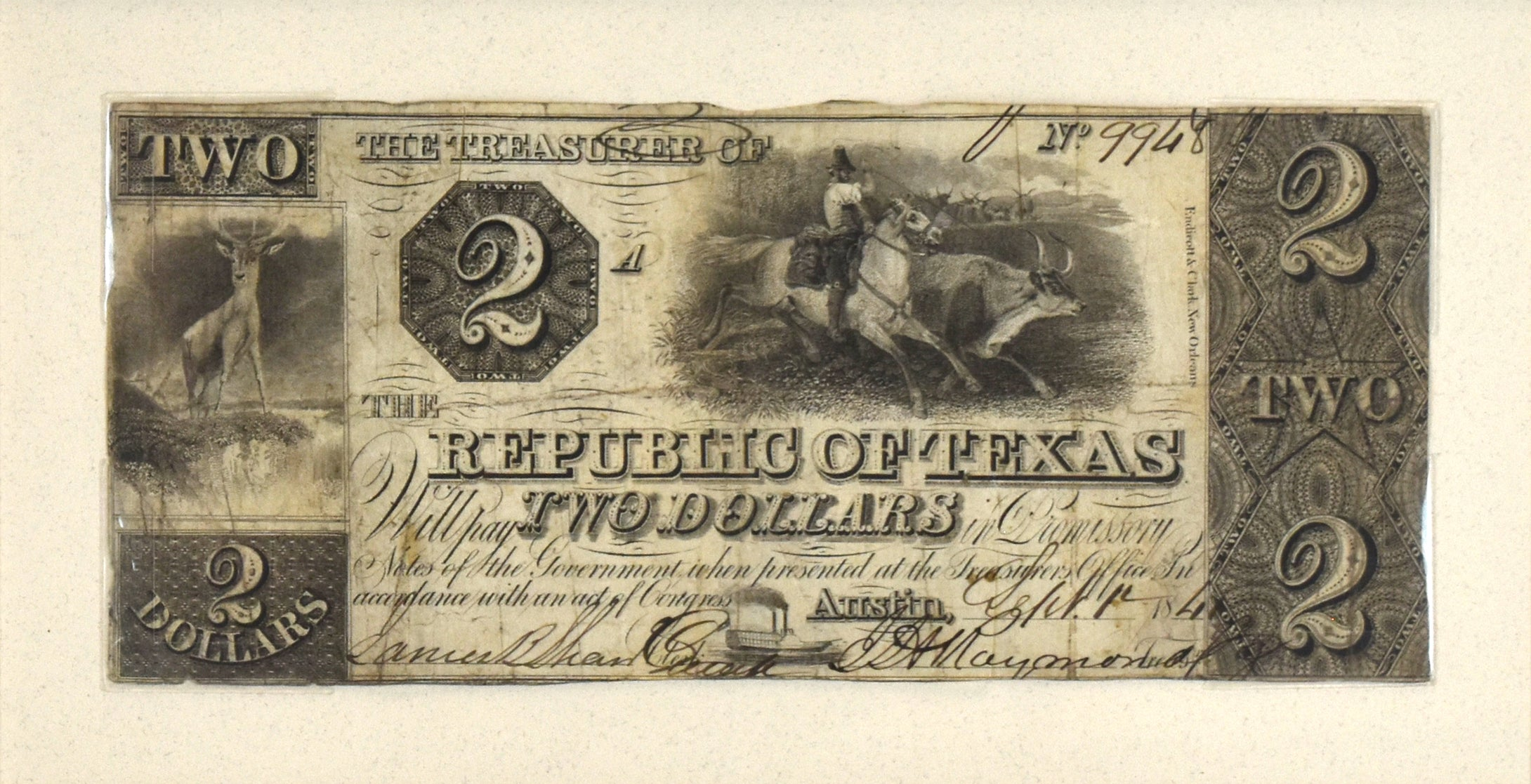 Republic of Texas Two Dollar Change Note: Republic of Texas 1841