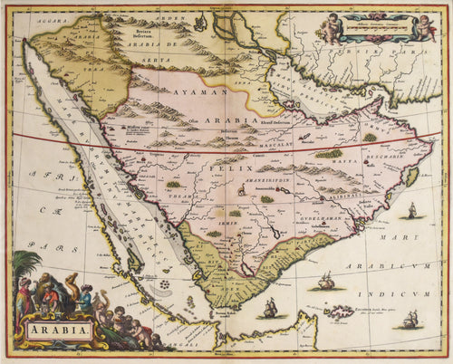 Old map of Saudi Arabia and the Red Sea