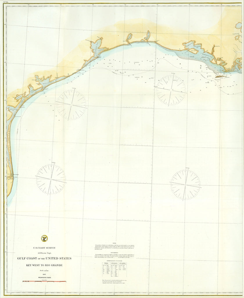 Old map of the United States Gulf Coast