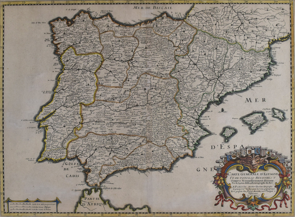 Old map of Spain and Portugal