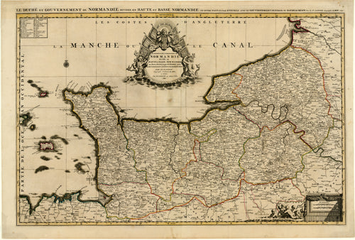 Old map of Normandy, France