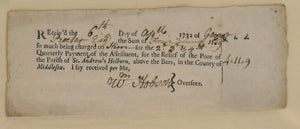 Receipt for Charitable Donation: Original Document 1732