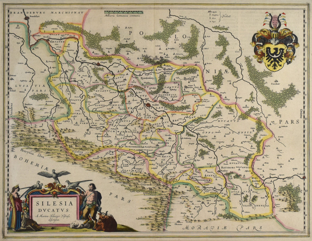 Old antique original map of Silesia by Dutch cartographer Willem Blaeu