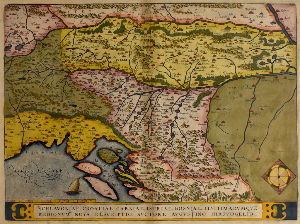 Old map of Slovenia, Croatia and Bosnia