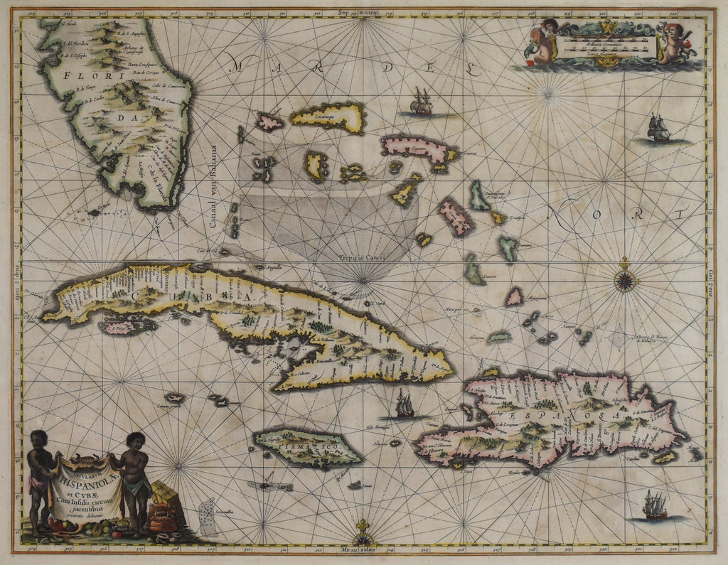 Sea Chart of the Greater Antilles: Jan Jansson 1650