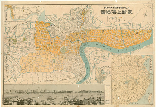Old map of Shanghai, China
