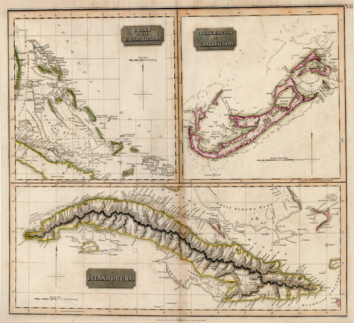 Old map of the Bahamas, Bermuda, and Cuba