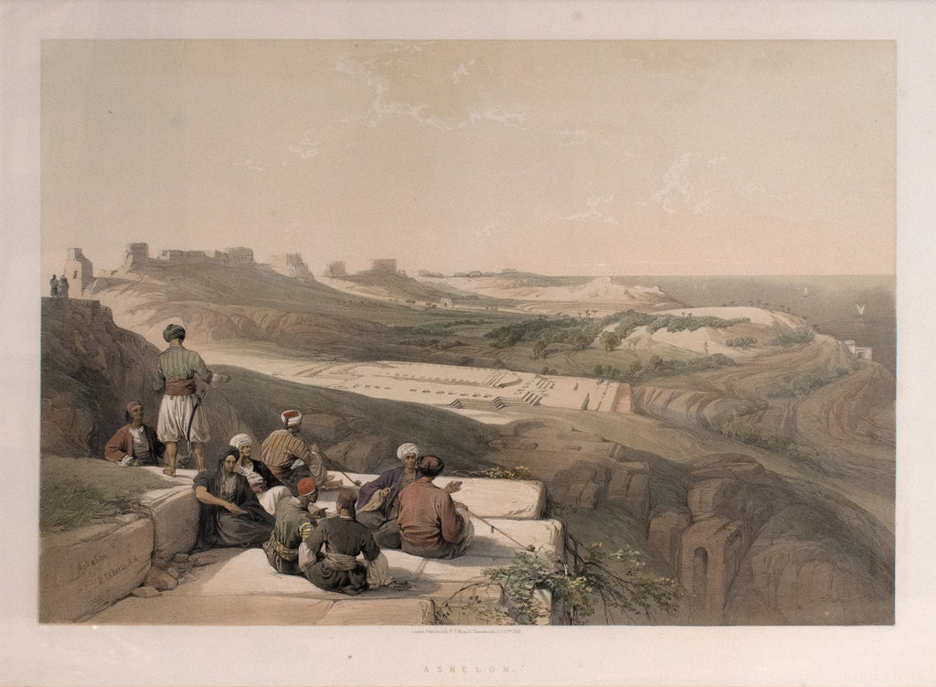 Old print of the city of Ashkelon in Israel