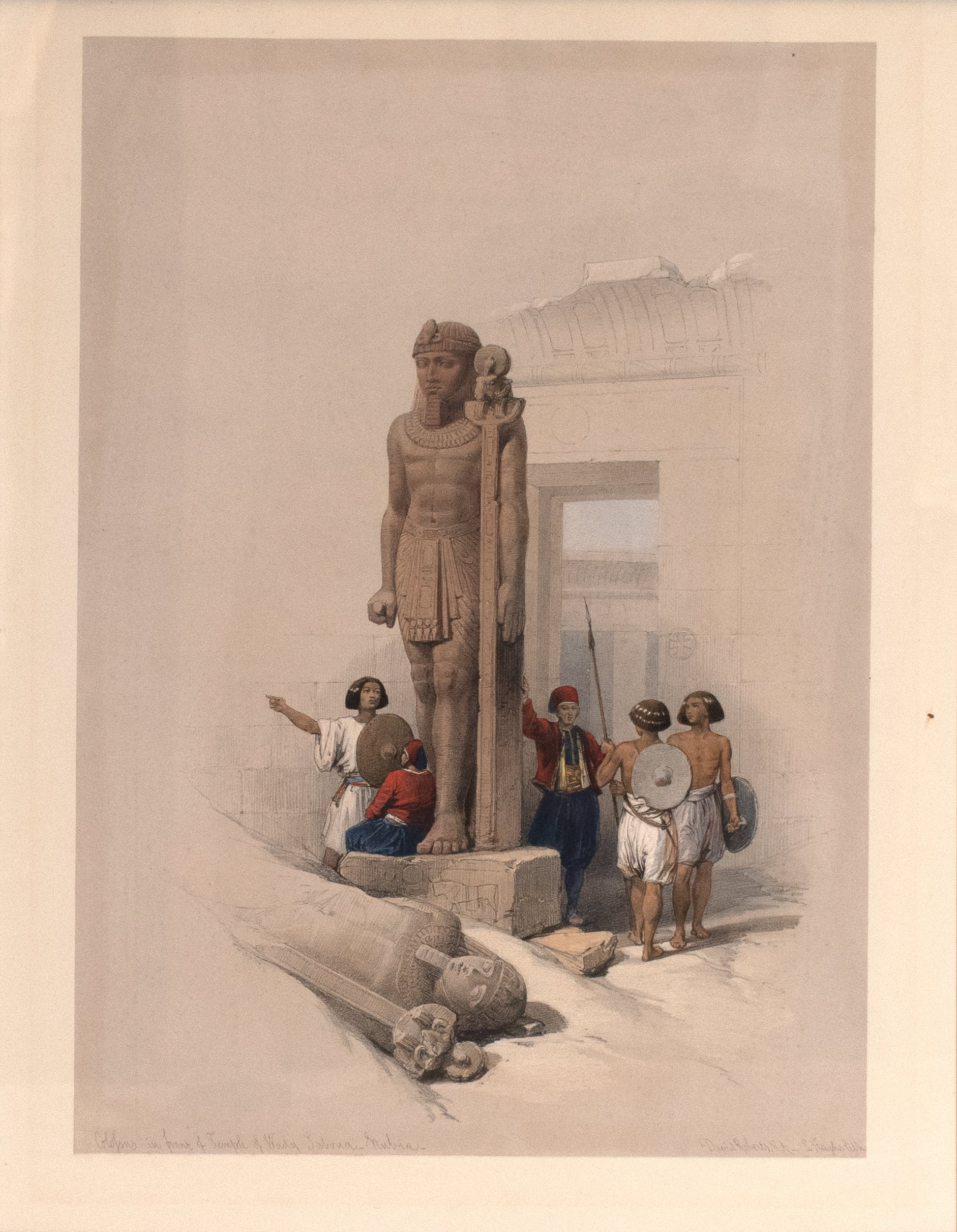 Colossus in front of Temple of Wady Sebona, Nubia: David Roberts 1846-49