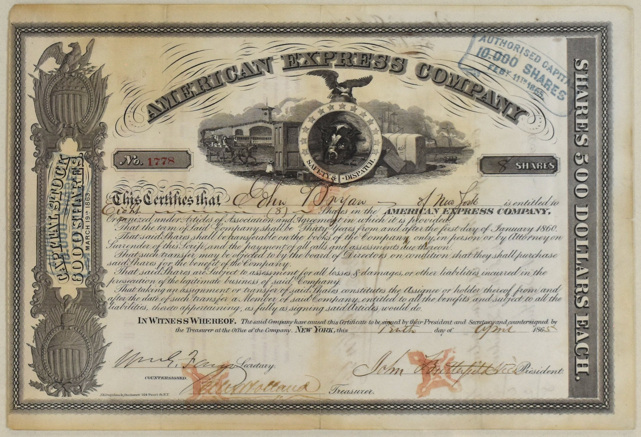 American Express Company Stock Certificate: 1865