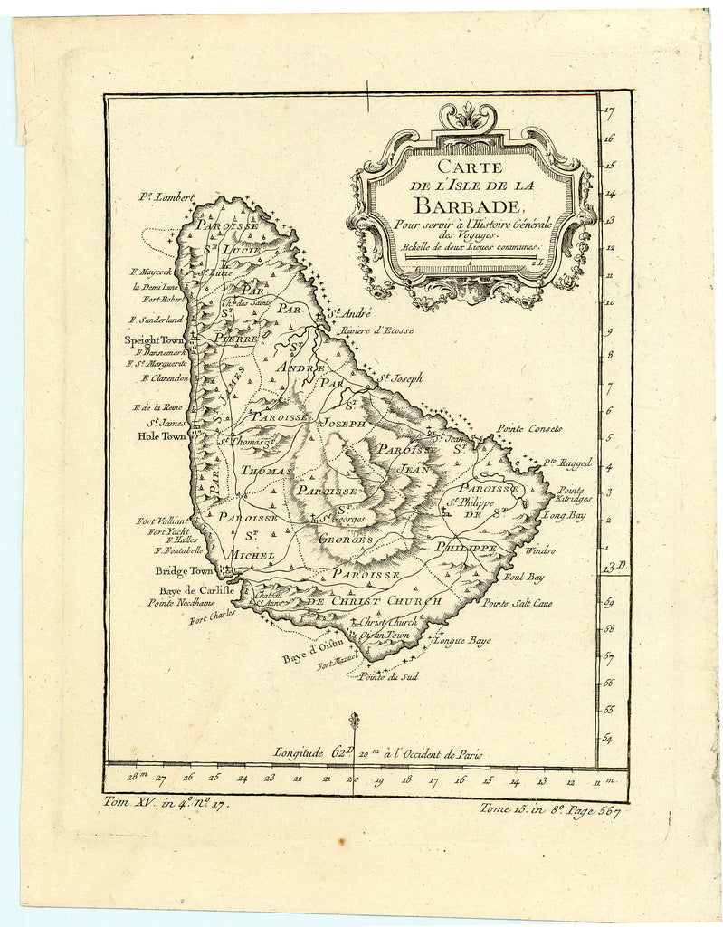 Old map of the island of Barbados