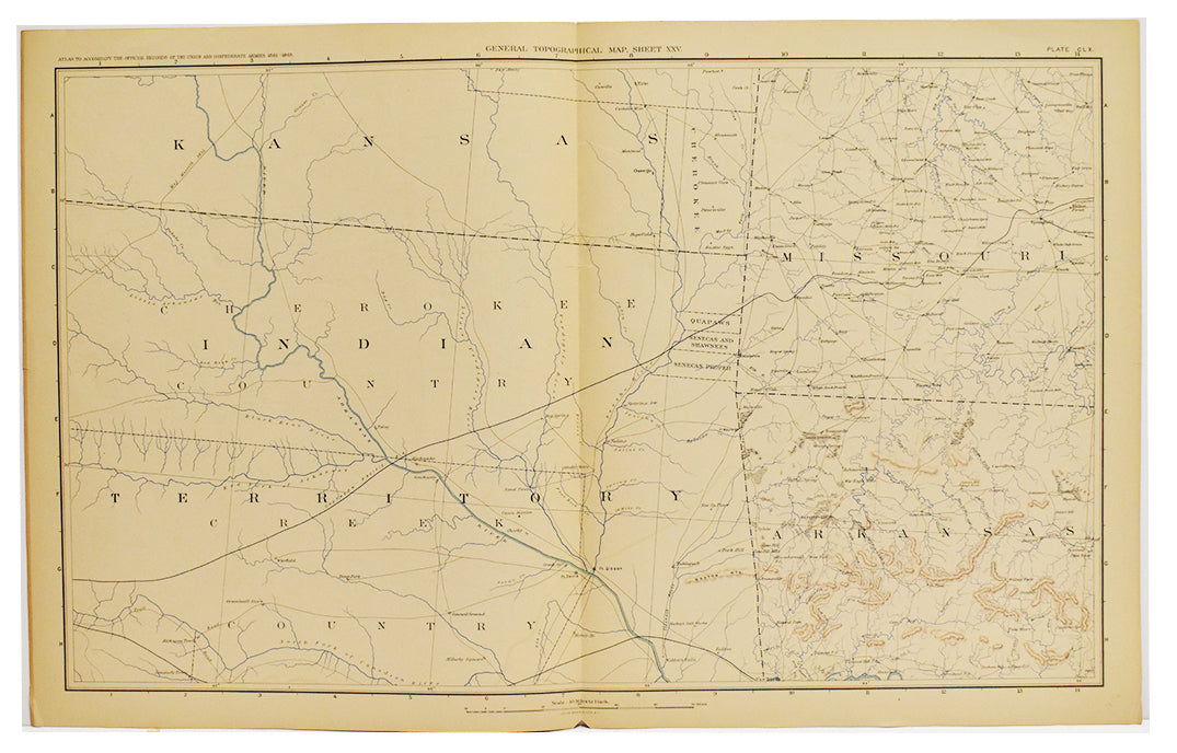 Indian Territory Topographical Map (Oklahoma): 1861-1865 [1895]