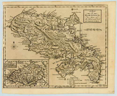 Old map of Martinique