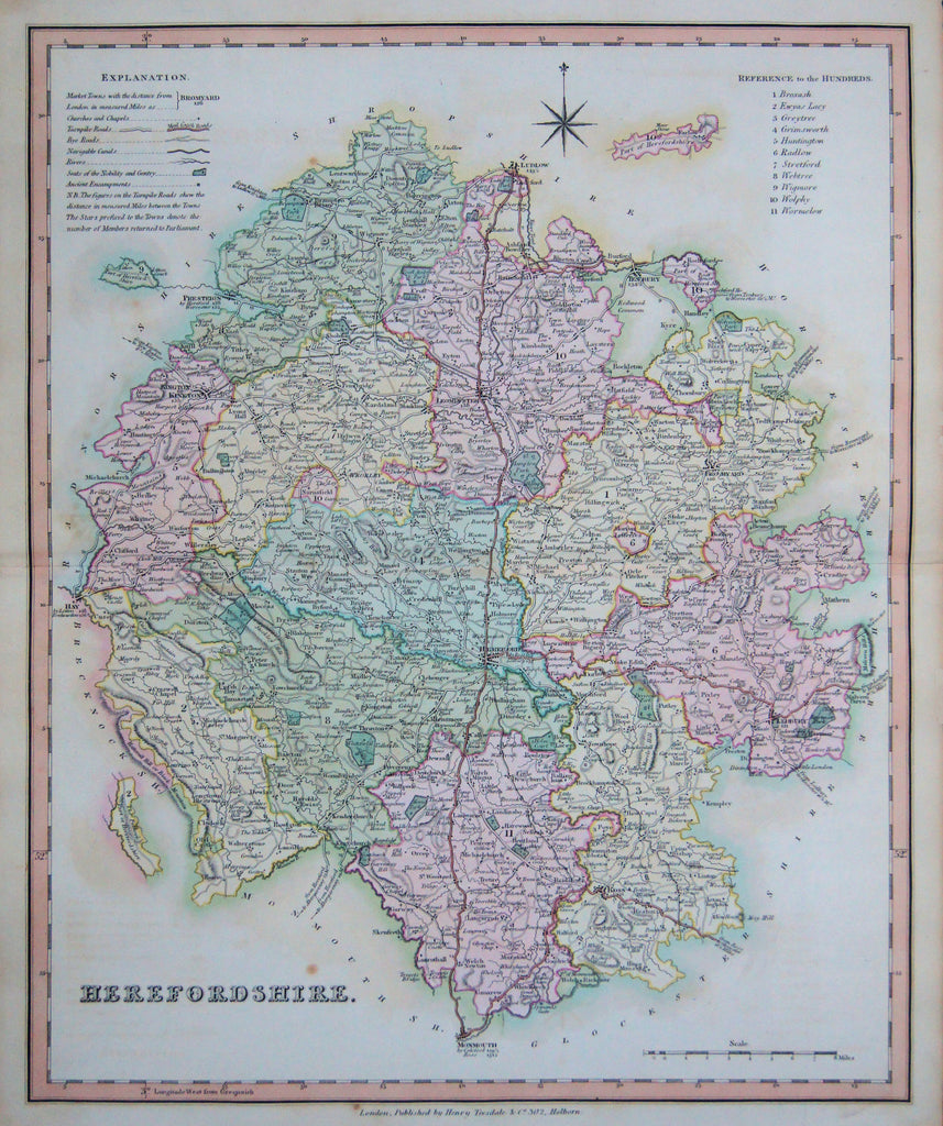 Old map of Herefordshire, England