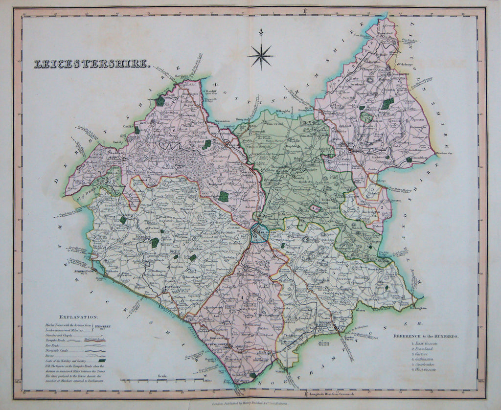 Old map of Leicestershire, England