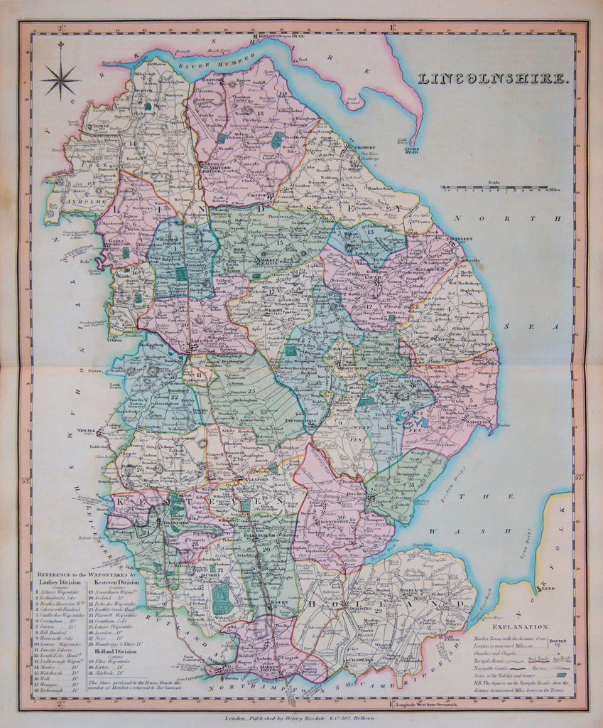 Old map of Lincolnshire, England
