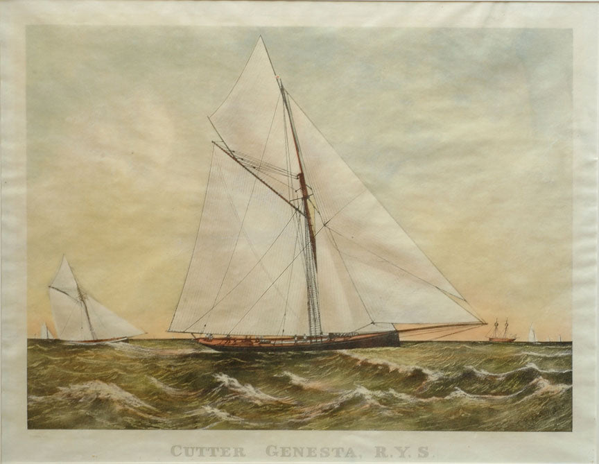 Old print of a sailboat