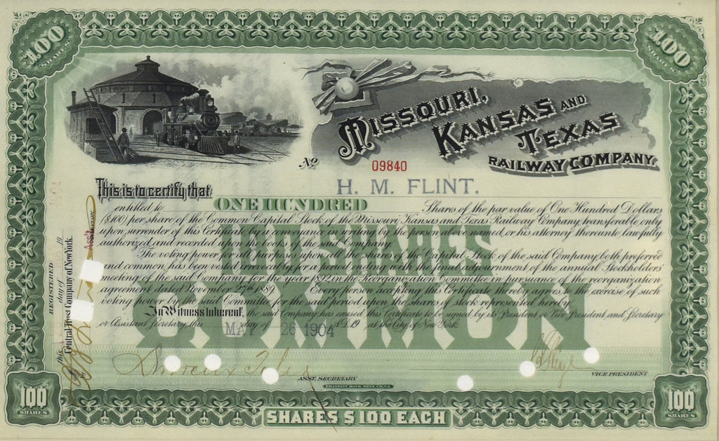 Missouri, Kansas, and Texas Railway Co Stock Certificate: 1904