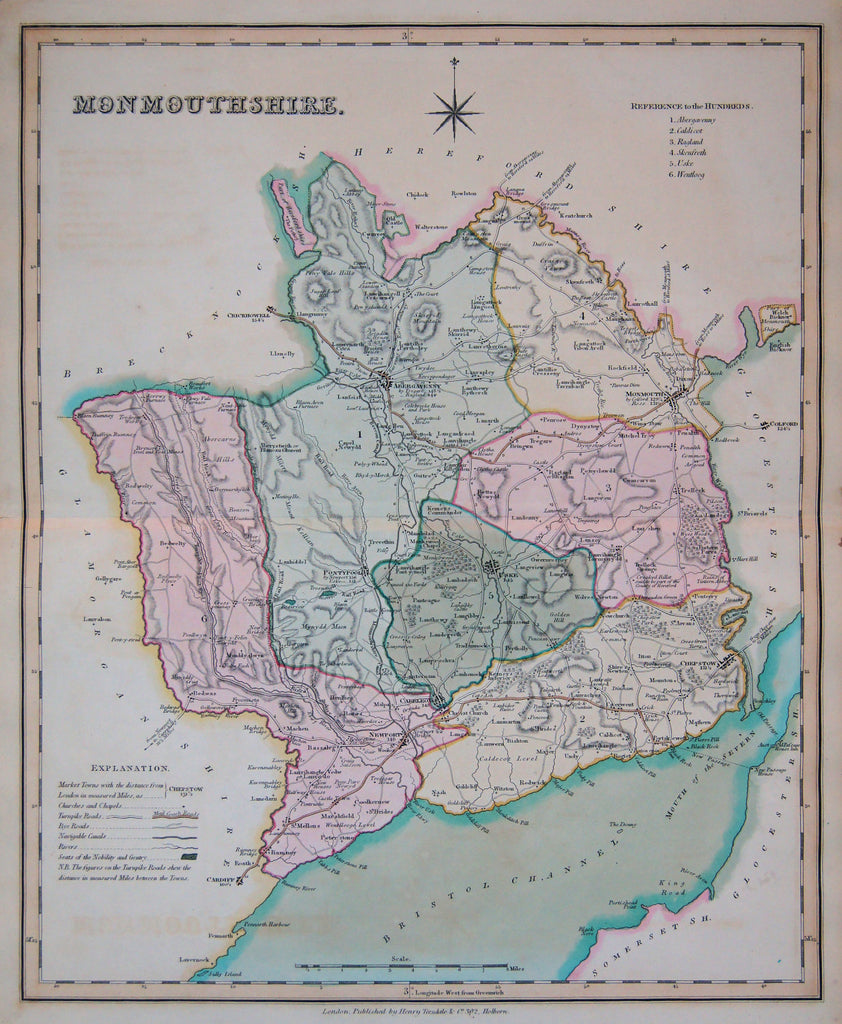 Old map of Monmouthshire, England