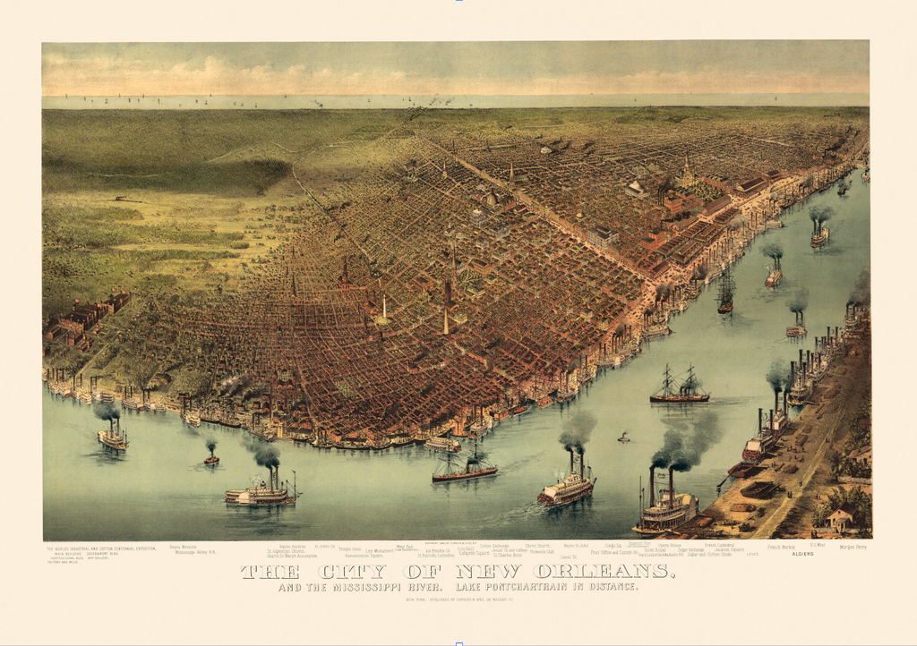 The City of New Orleans: Currier & Ives c. 1885