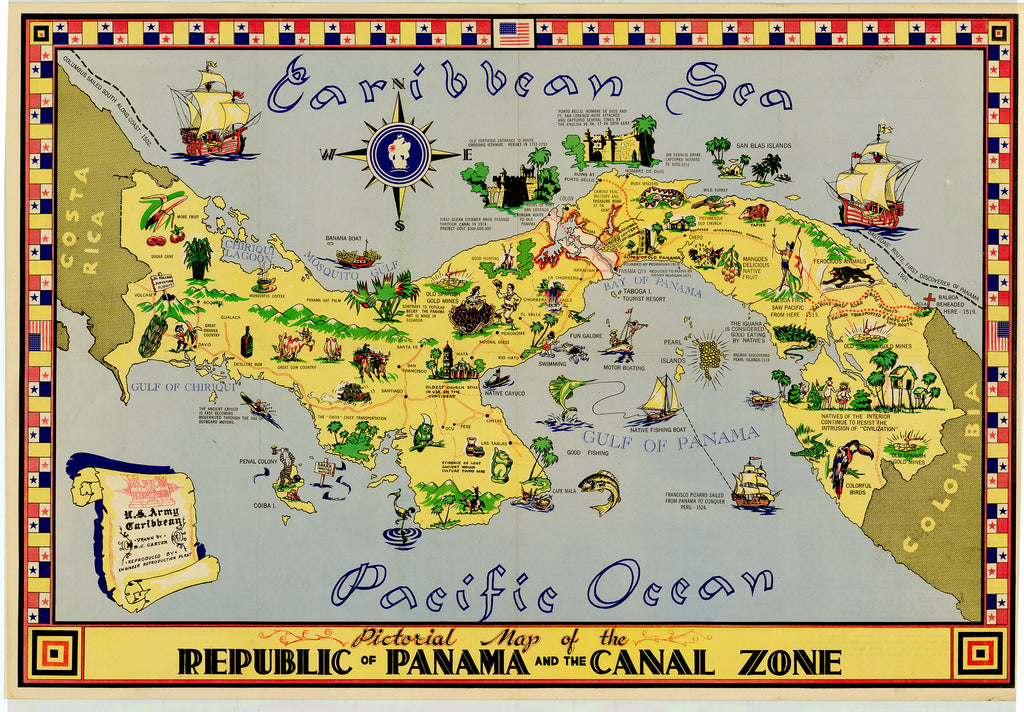 Pictorial Map of the Republic of Panama and the Canal Zone: Carter 1951
