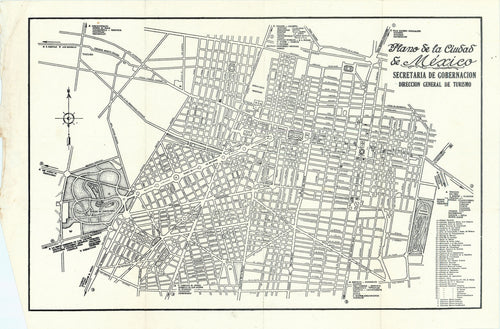 Old map of Mexico City (la Ciudad de México)