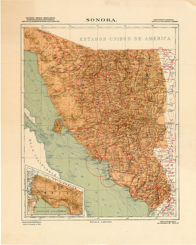 Old map of Sonora, Mexico