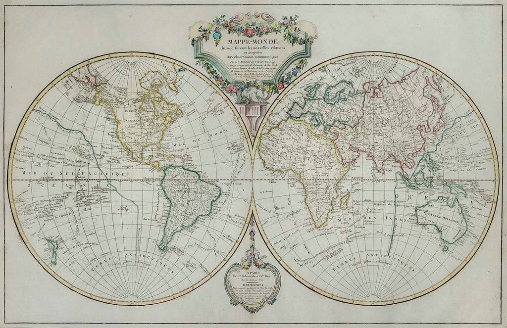 Old map of the eastern and western hemispheres