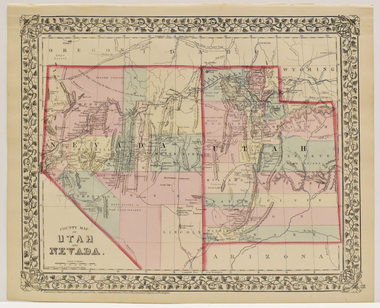 County Map of Utah and Nevada: Mitchell 1877