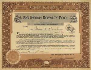 Big Indian Royalty Pool Stock Certificate: 1930