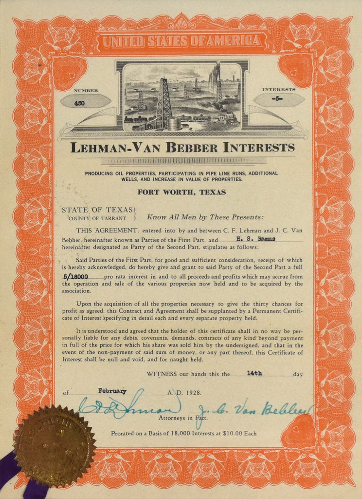 Texas Oil Stock Certificate: 1922