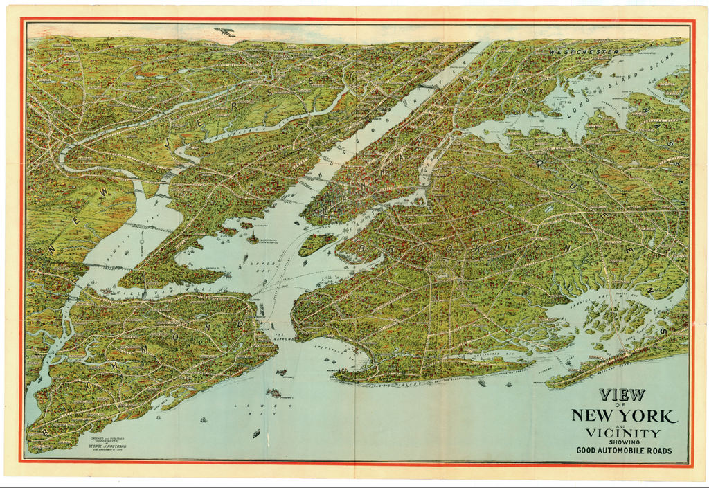 View of New York and Vicinity Showing Good Automobile Roads: Nostrand 1929