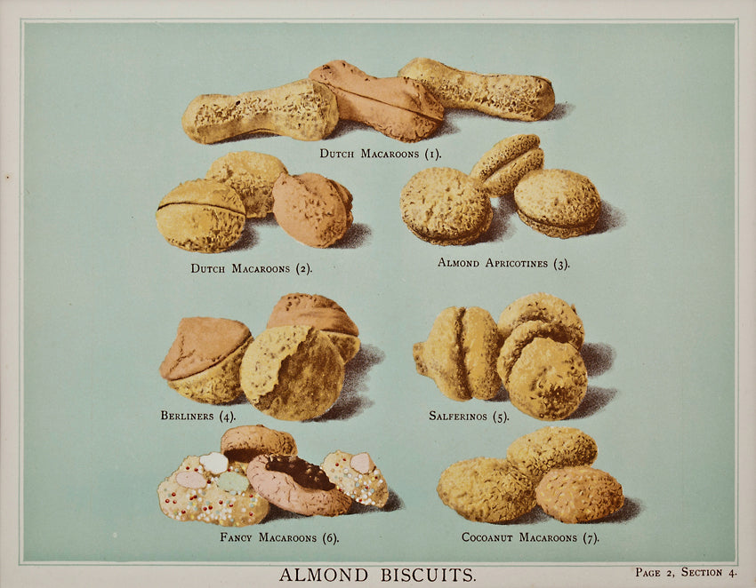 Old print of almond cookies and macarons