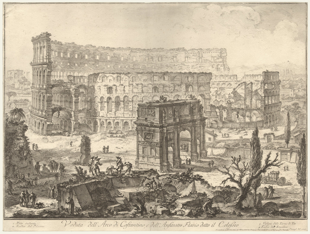 Old print of the Arch of Constantine and the Colosseum