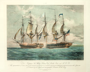 Old print of two ships