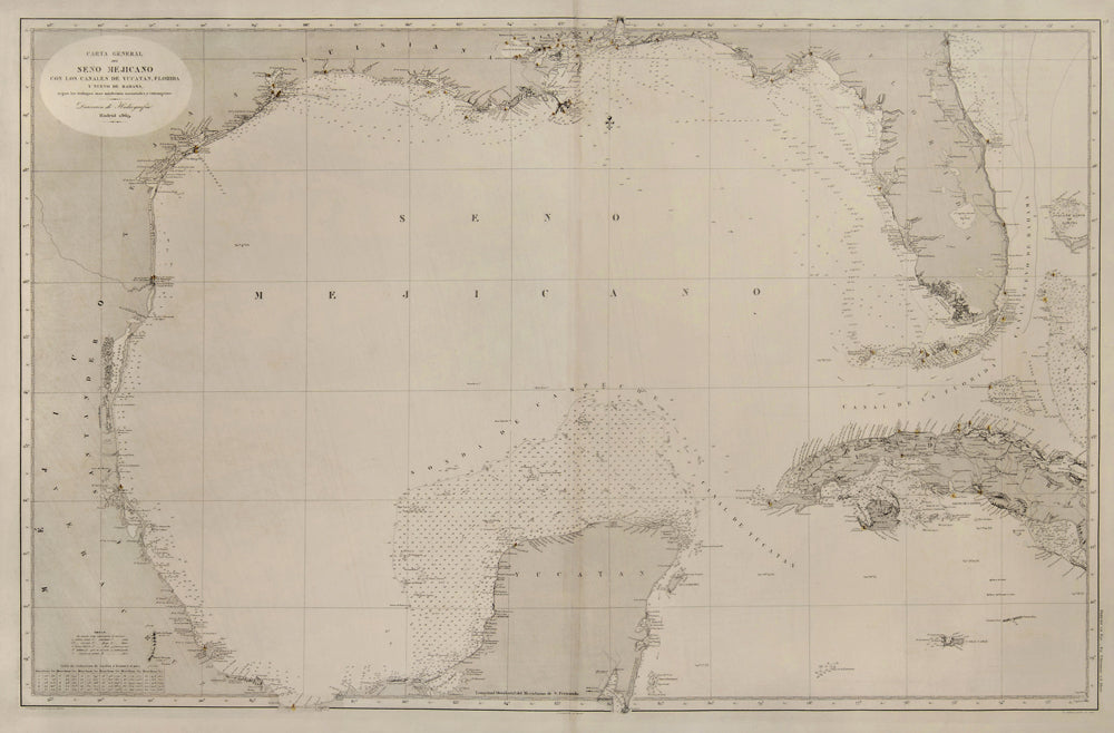 Sea Chart of Gulf of Mexico: Spanish Directorate of Hydrography 1869