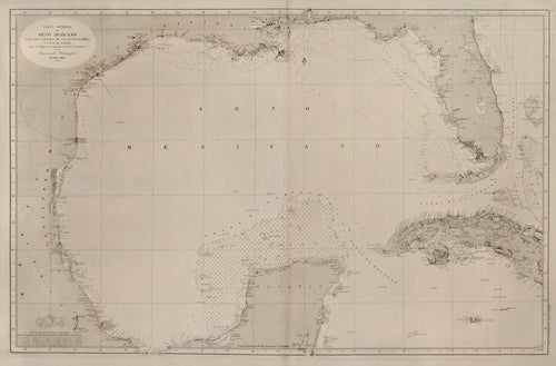 Old map of the Gulf of Mexico