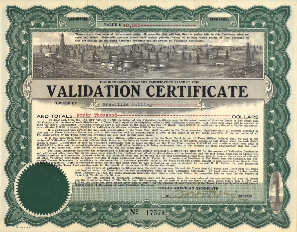 Texas oil Stock Certificate: 1917