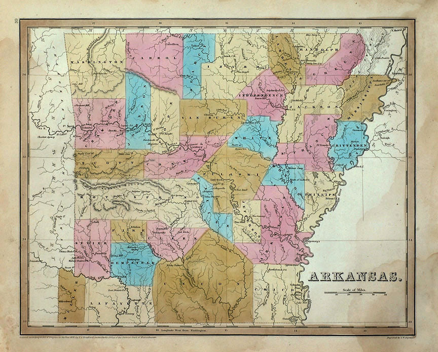 Old map of Arkansas