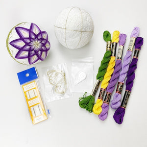 Kiku Temari Ball Bundle Kit: 1 White Temari Ball, 6 threads, 2 Needles, Ring Stand and Needle Threader and Step-by-step Video Instruction valued $129 (41% OFF)