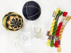 Feather Temari Ball Bundle Kit: 1 Black Temari Ball, 6 threads, 2 Needles, Ring Stand and Needle Threader and Step-by-step Video Instruction valued $129 (41% OFF)