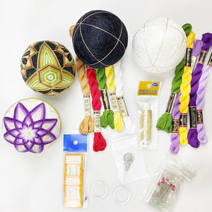 Funnel Complete 2 Ball Bundle Pack Upgrade: Black Temari Ball, 5 threads, pins 4 colour, needle threader, circle stand and Video Instructions valued $112(53% OFF)