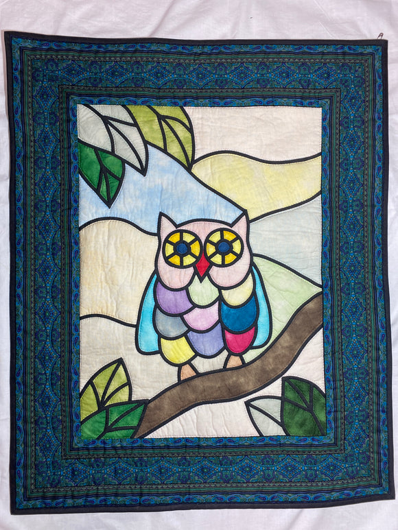 OWL Stained Glass Quilting Wall Hanging
