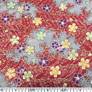 Japanese cotton fabric 50x55cm Red