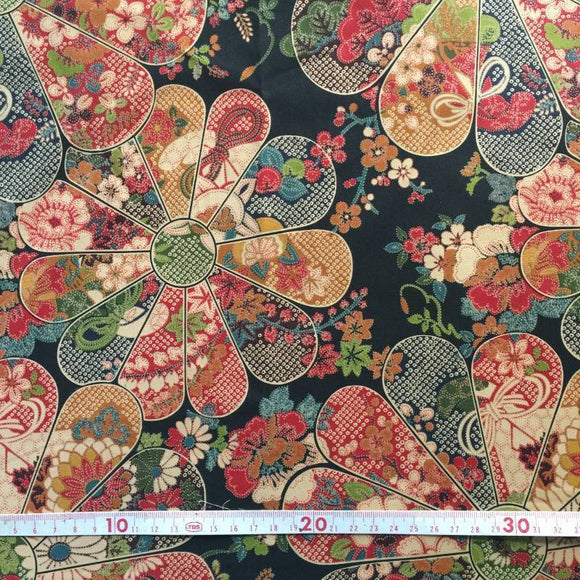 Japanese cotton fabric 50x 55cm Hana Black