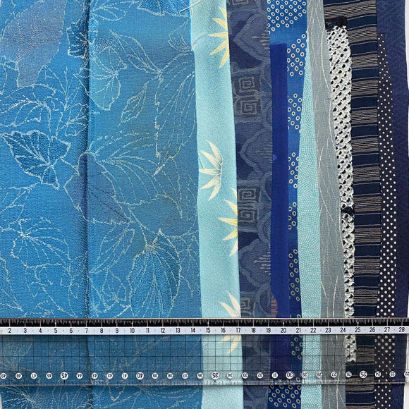 Leaf Blue Vintage Kimono cut out Silks pack of 10.