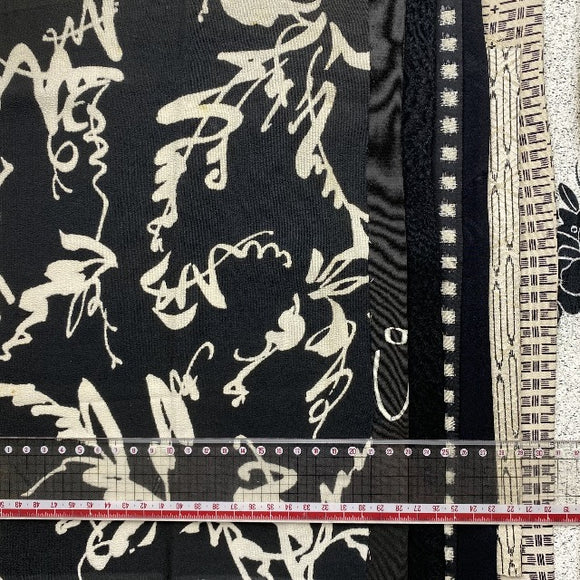 Words (kanji) Black and White Vintage Kimono cut out Silks pack of 10.