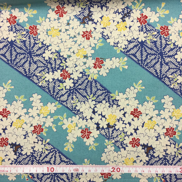 Japanese cotton fabric-Cherry blossom Aqua 50x55cm