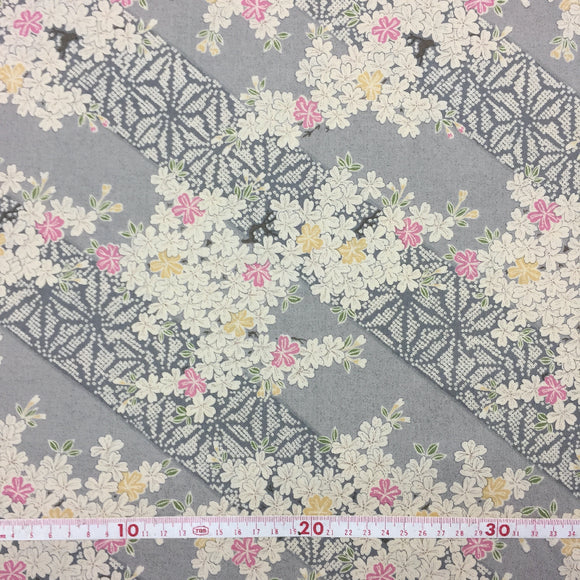 Roll Japanese cotton fabric 50x 110cm Cherry blossoms Grey