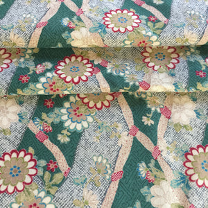 Roll Japanese cotton fabric 50x 110cm~ Ogawa Green